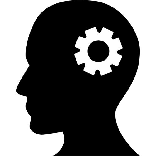 Profil von einem Kopf mit Zahnrad - Branding - webfürKMU, Zürich, Schweiz