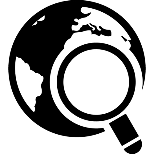 Lupe und Planet Erde sinnbildlich für SEO - Icon - webfürKMU - Website Leasing, Zürich, Schweiz