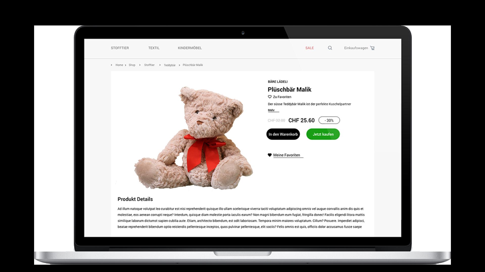 Onlineshop Produktseite mit braunem Teddy - Website Leasing für KMU und Selbstständige in der Schweiz